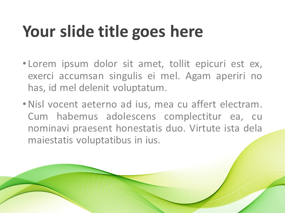 Modern Green Waves PowerPoint Template - Title and Content Slide