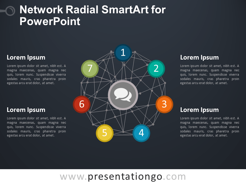 Radial SmartArt with Network Wire-frame Sphere for PowerPoint - Dark Background