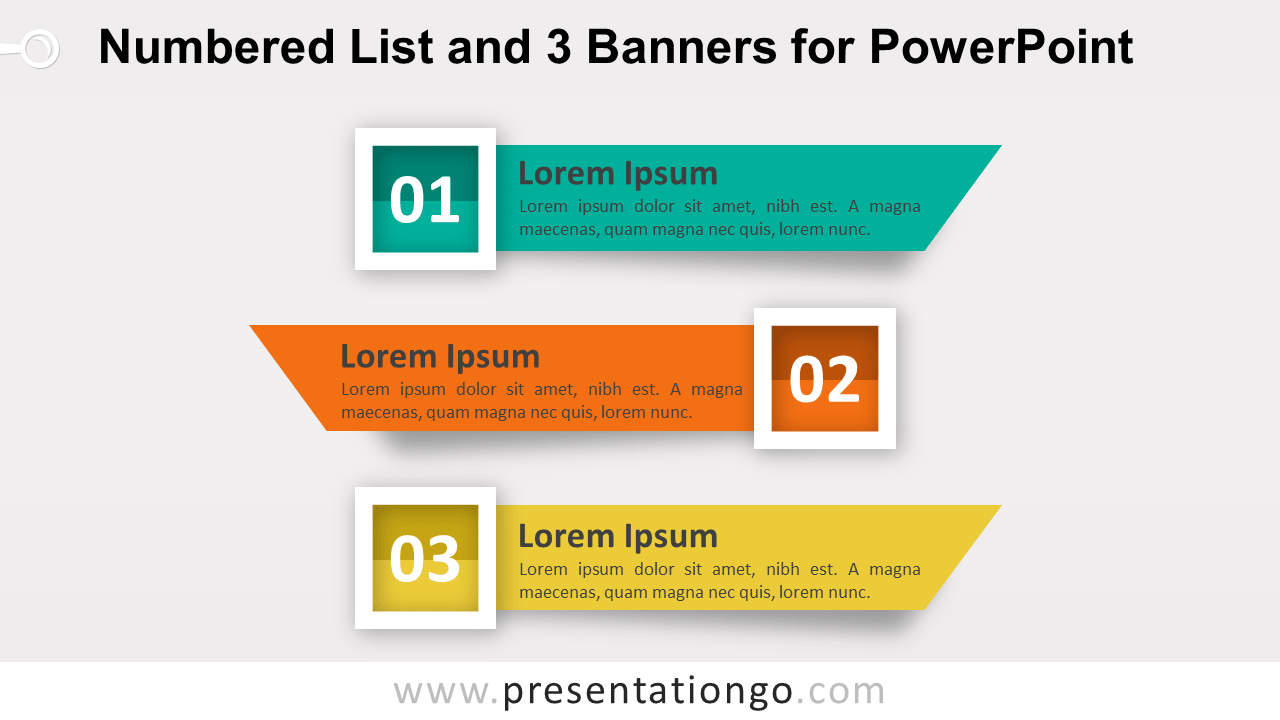 Numbered List with 3 Banners or Ribbons for PowerPoint