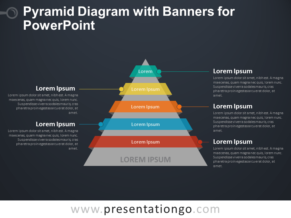 Pyramid Diagram with Banners for PowerPoint - Dark Background