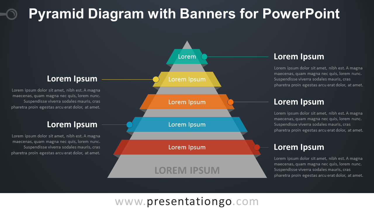 Pyramid Diagram with Banners or Ribbons for PowerPoint - Dark Background