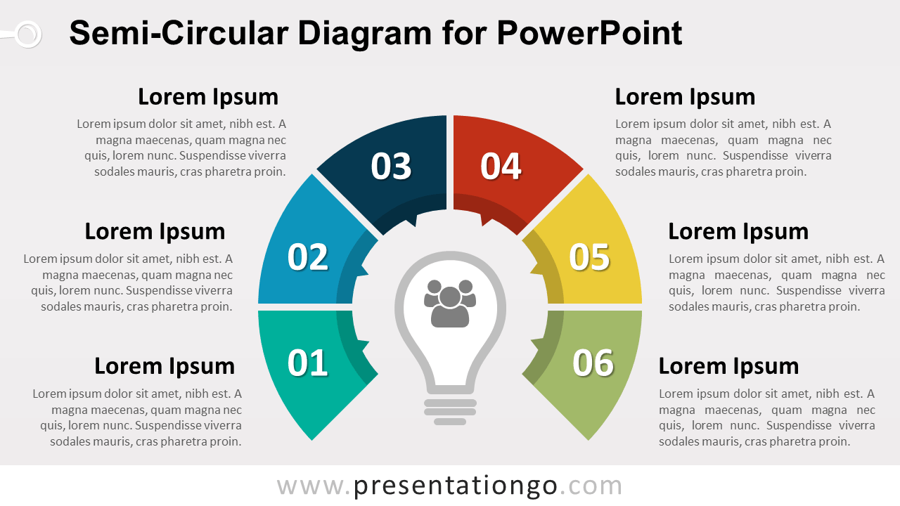 Semi-Circular Diagram with 6 Stages for PowerPoint