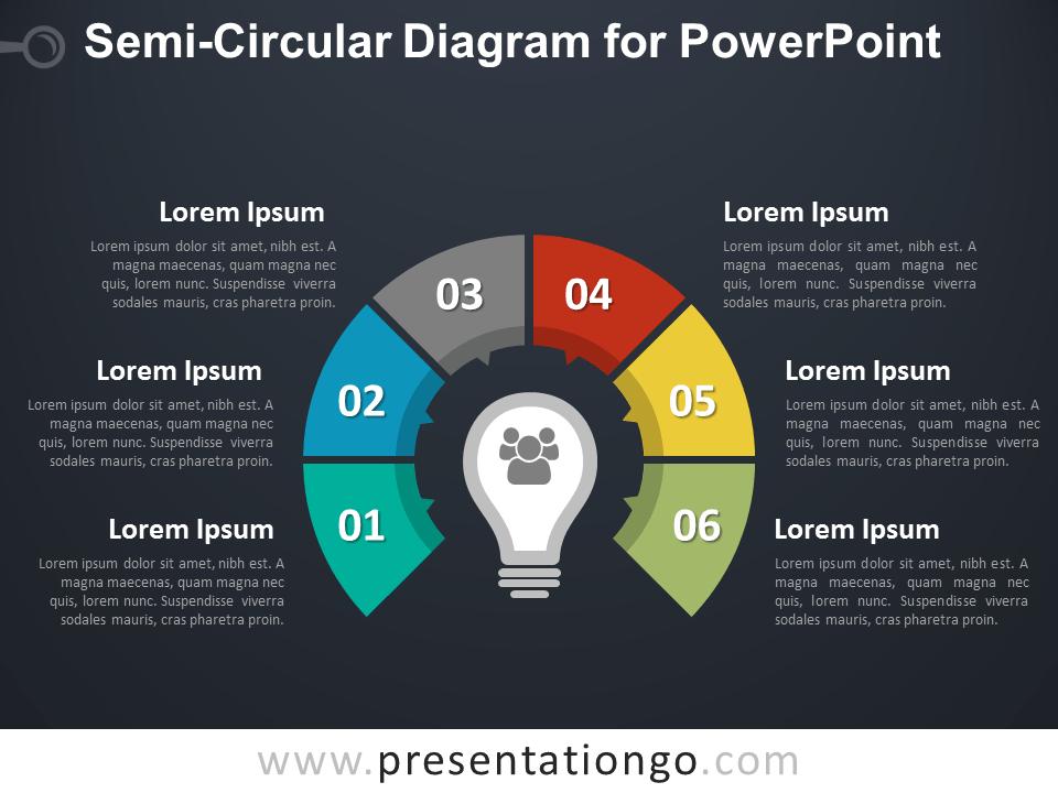 Semi-Circular Diagram for PowerPoint - Dark Background
