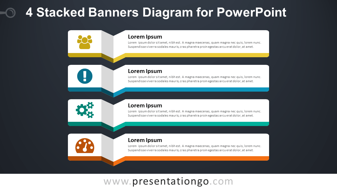 4 Stacked Banners - Diagram for PowerPoint - Dark Background
