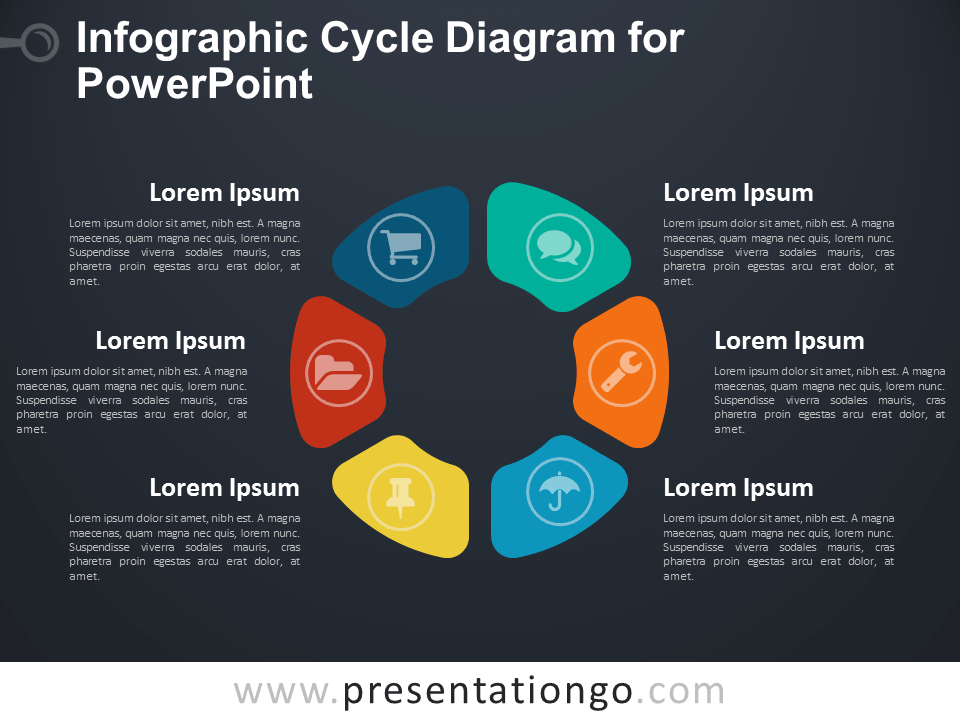 Infographic Cycle Diagram for PowerPoint - Dark Background