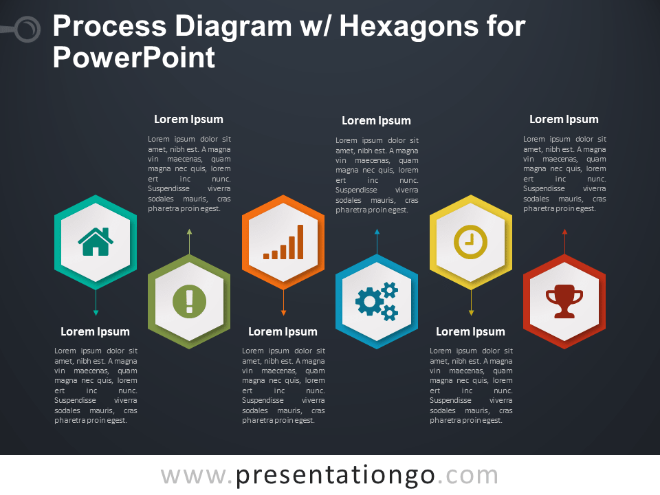 Process Diagram with Hexagons for PowerPoint - Dark Background