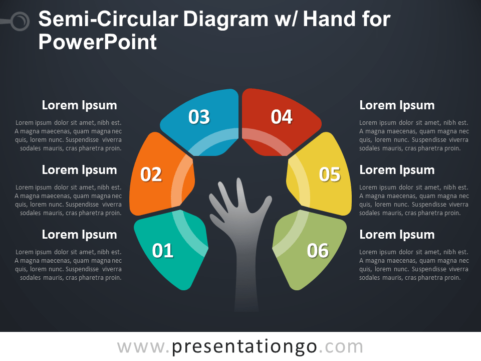 Semi-Circular Diagram with Hand for PowerPoint - Dark Background