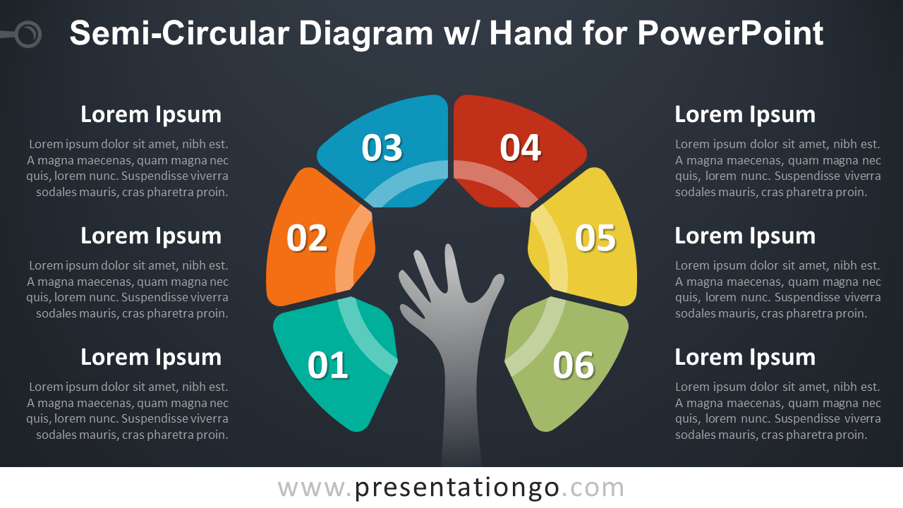 Semi-Circular Diagram with Hand - PowerPoint Template - Dark Background