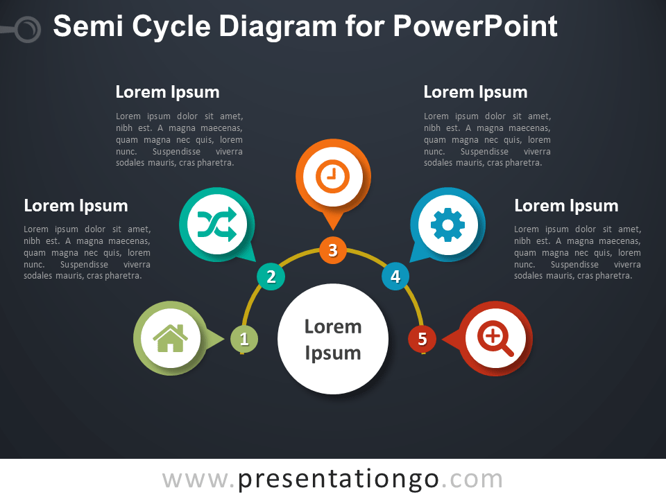 Semi-Cycle Diagram for PowerPoint - Dark Background