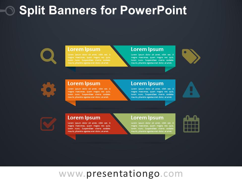 Split Banners for PowerPoint - Dark Background