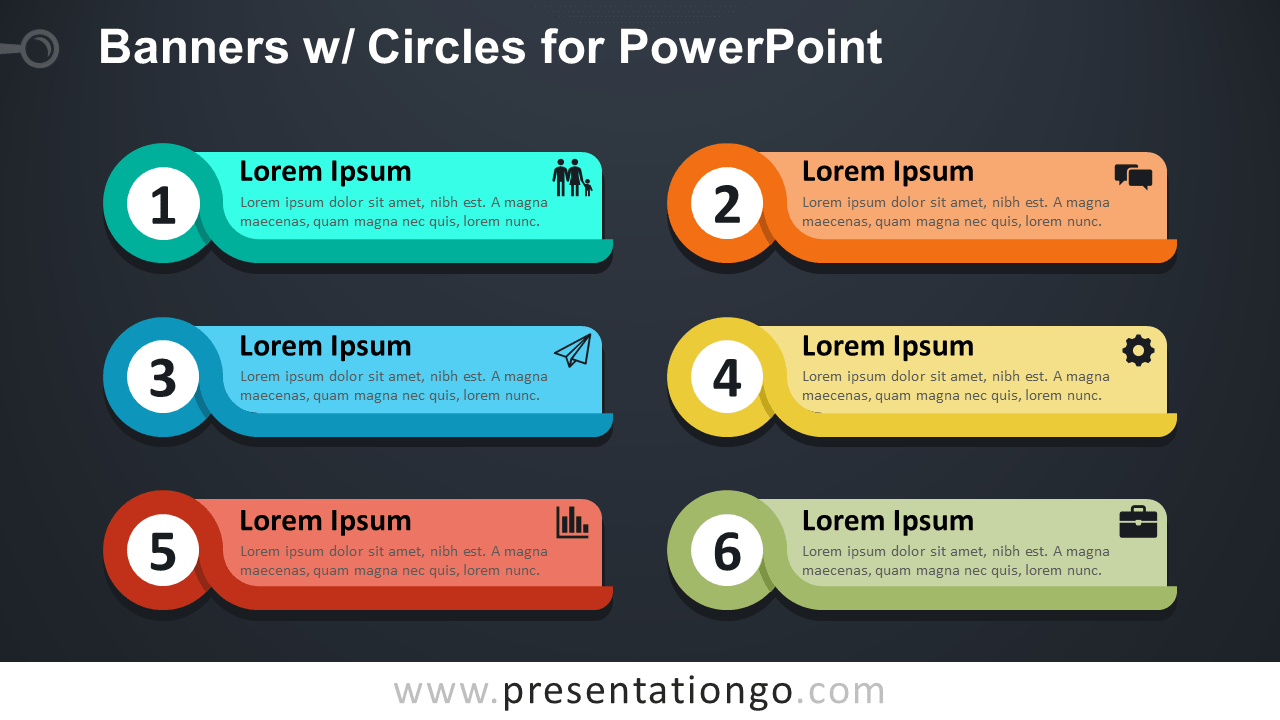 Banners with Circles Text Boxes for PowerPoint - Dark Background