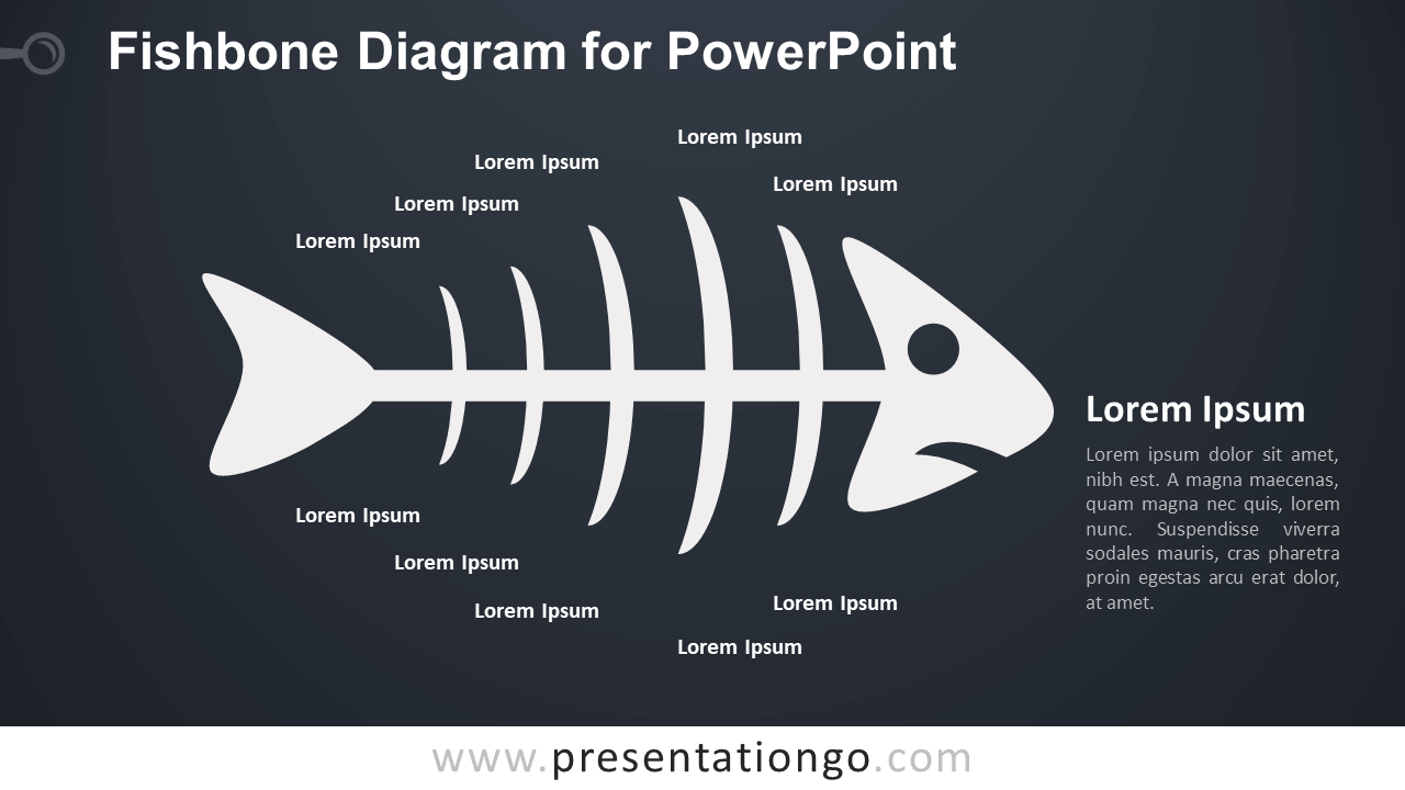 Cause and Effect - Fishbone Diagram for PowerPoint - Dark Background