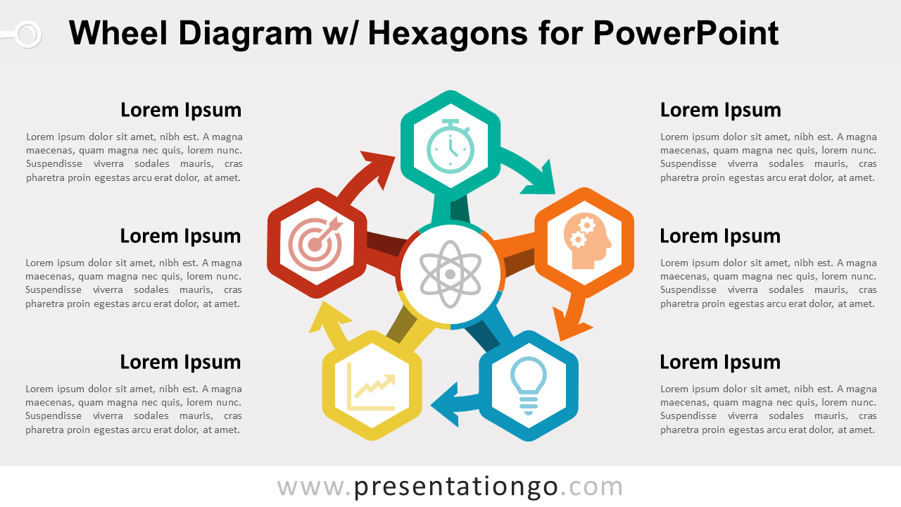 Circular Wheel Diagram with Hexagons and Icons for PowerPoint