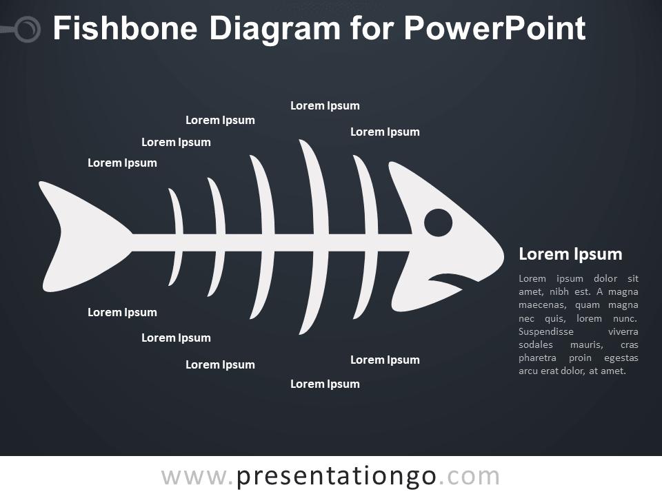Fishbone Diagram for PowerPoint - Dark Background