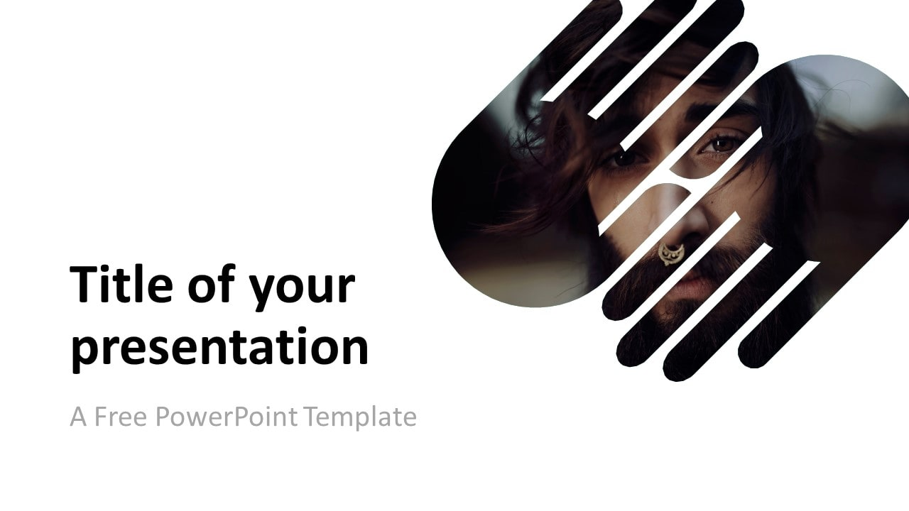 Free PowerPoint Template with 2 Hands - 1 Shape