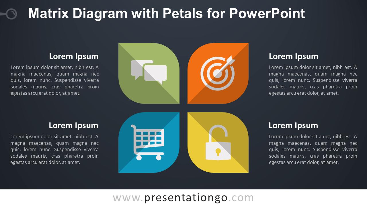 Matrix with Petals PowerPoint Diagram - Dark Background