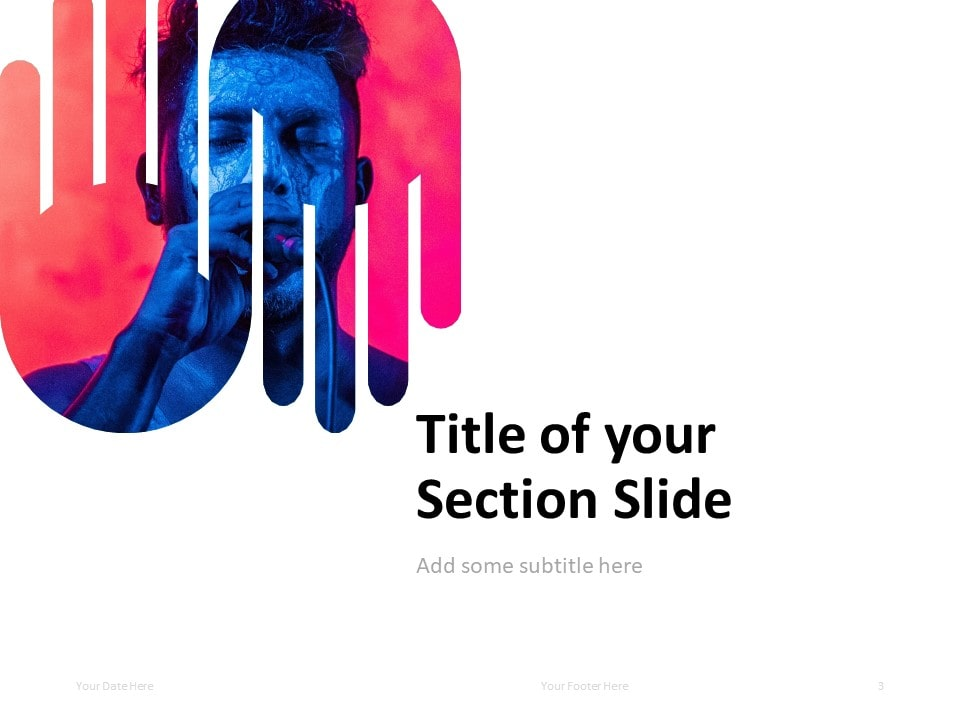 PowerPoint Template with Up-and-Down Hands - Section Slide