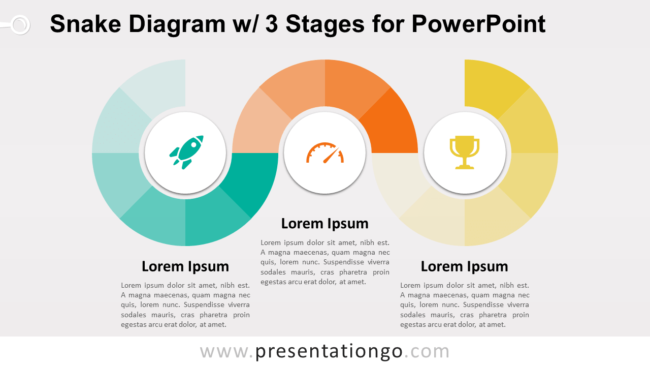 Free Snake Diagram with 3 Stages - PowerPoint Template