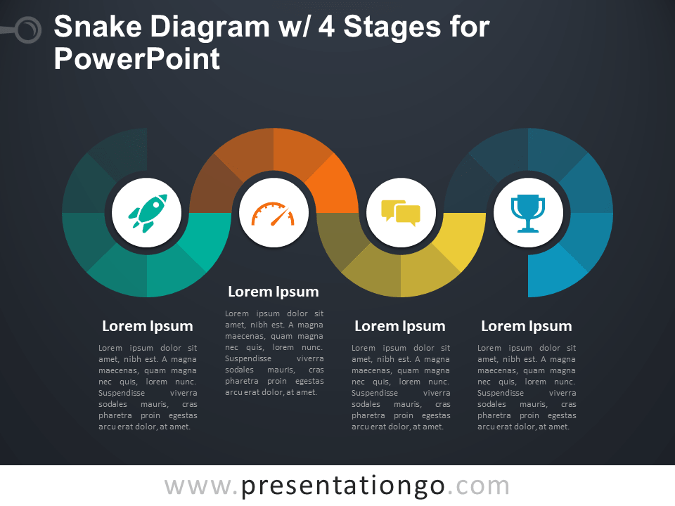 Free Snake Diagram with 4 Stages for PowerPoint - Dark Background