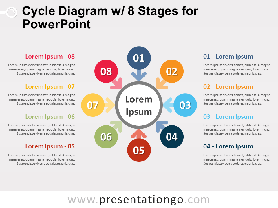 Free Cycle Diagram with 8 Stages for PowerPoint