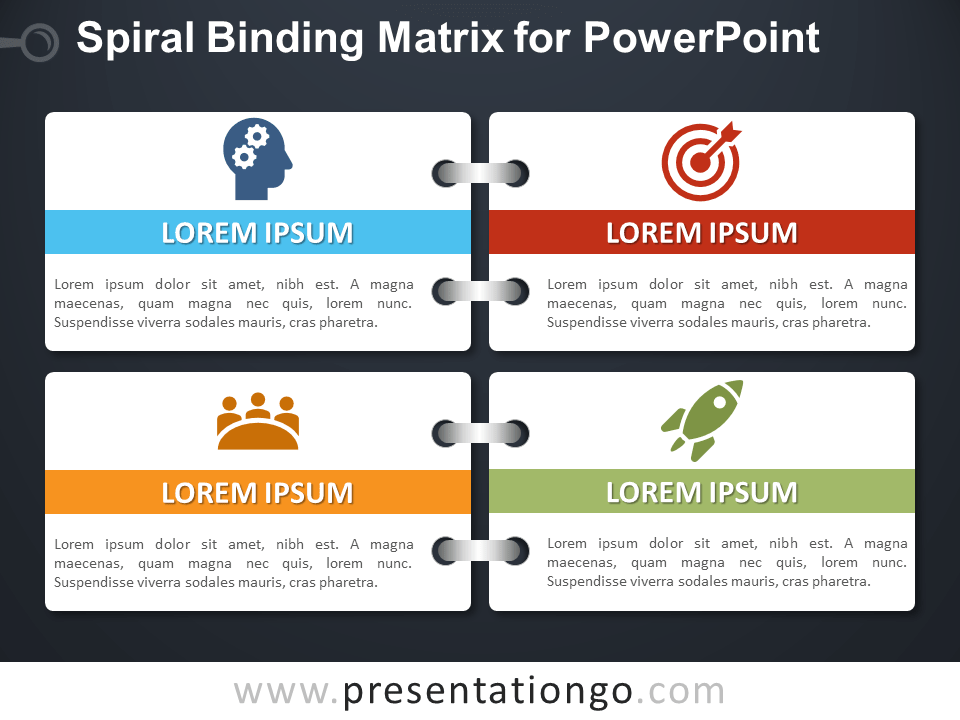 Spiral Binding Matrix for PowerPoint - Dark Background