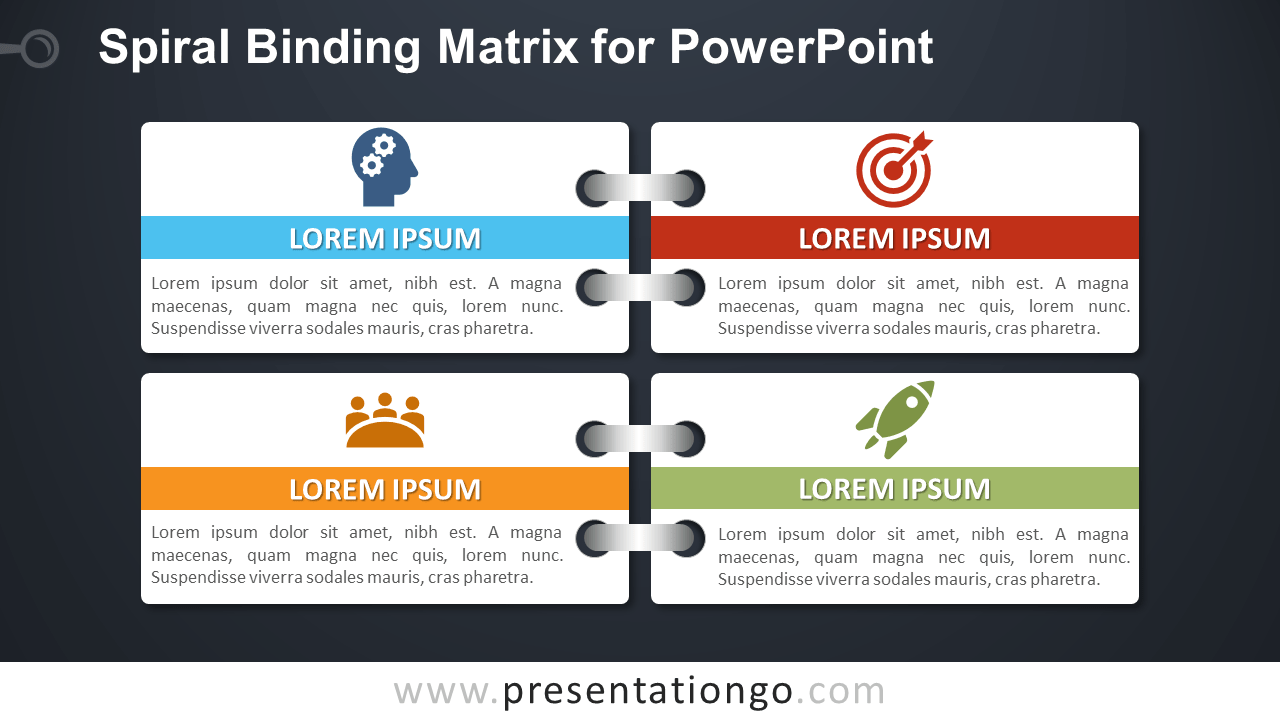 Free Spiral Binding Matrix Template for PowerPoint - Dark Background