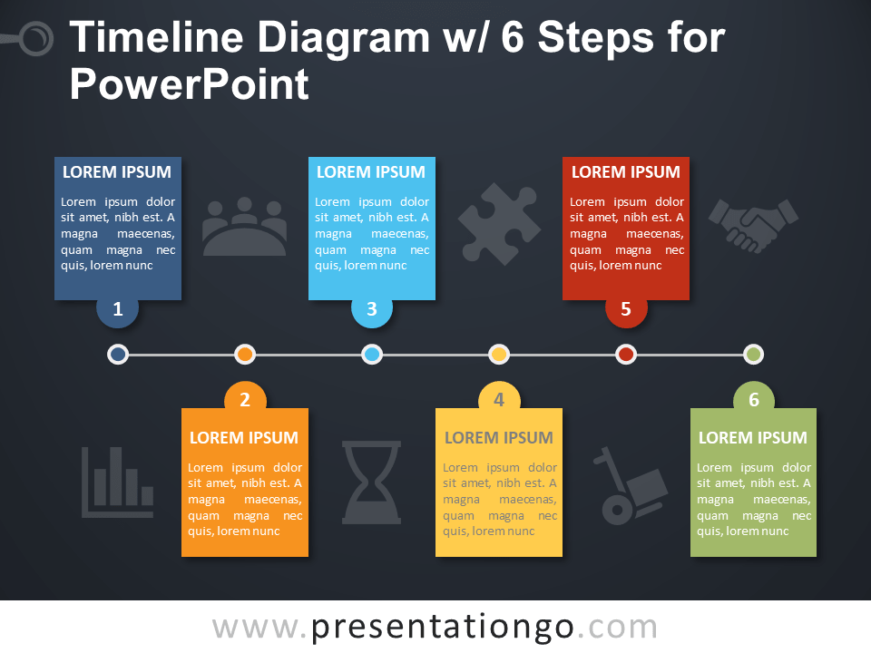 Free Timeline with 6 Steps for PowerPoint - Dark Background
