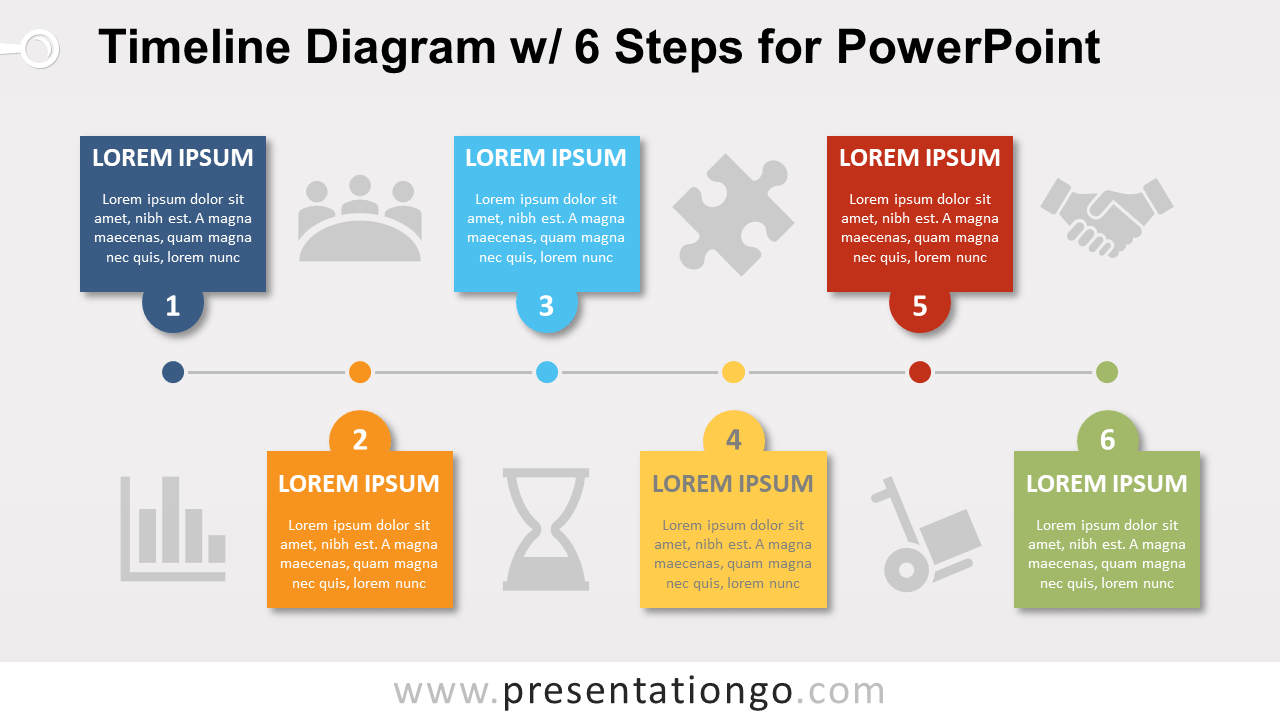 Free Timeline with 6 Steps PowerPoint Diagram