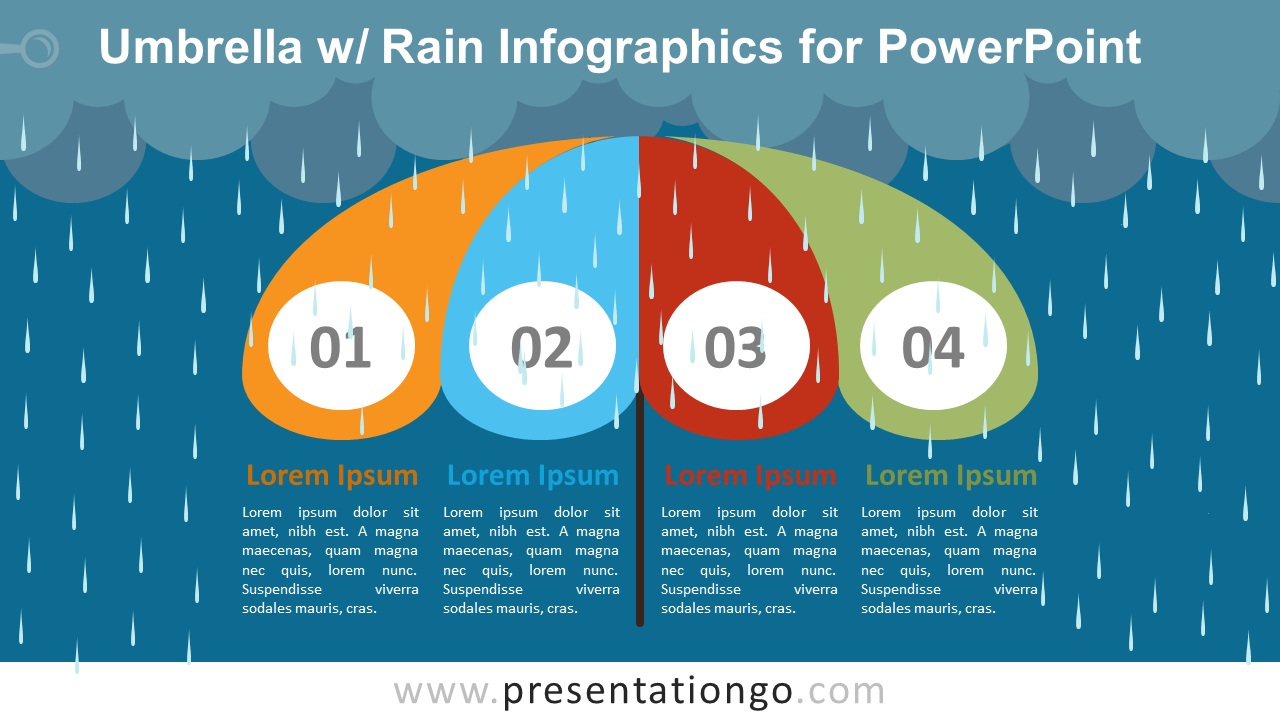 Umbrella W Rain Infographics For Powerpoint