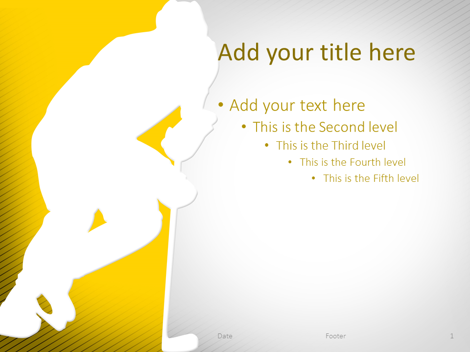 Hockey PowerPoint Template Yellow