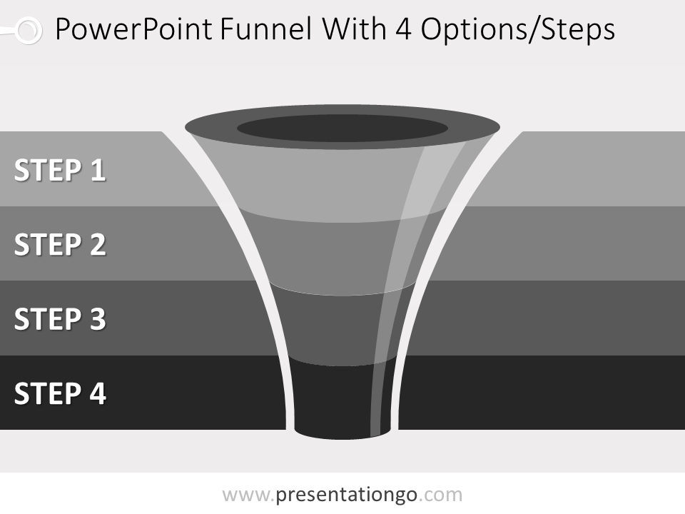 Free editable 4 level funnel diagram for PowerPoint