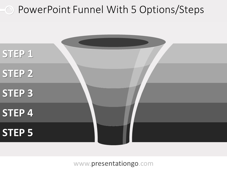 Free editable 5 level funnel diagram for PowerPoint