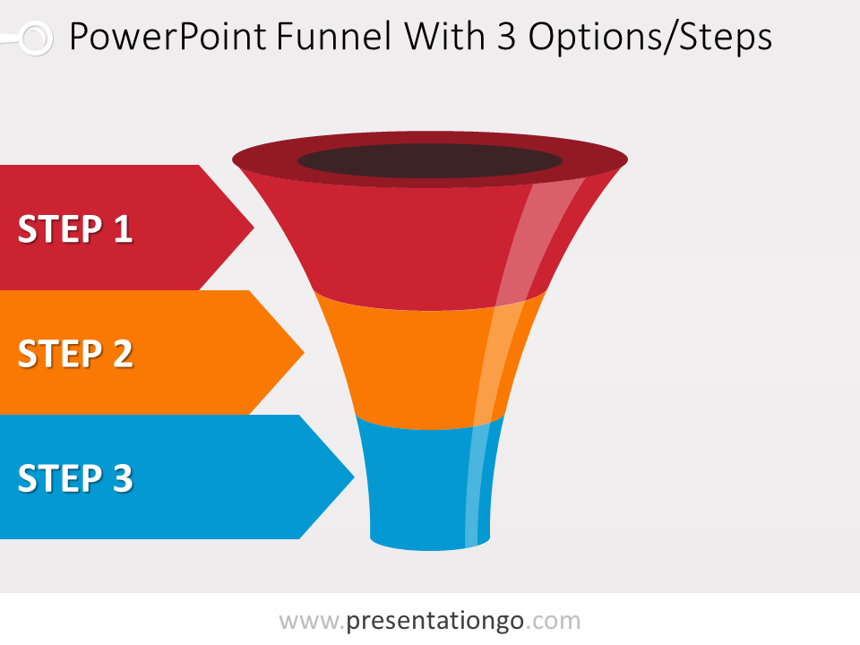 Free editable colorful PowerPoint funnel with 3 options