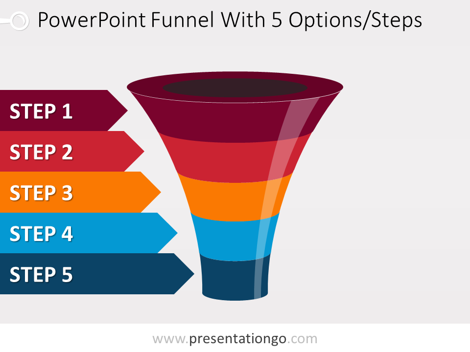 Free editable colorful PowerPoint funnel with 5 options