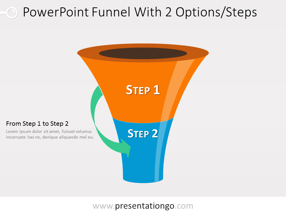 Free 2 level PowerPoint Funnel With Green Arrows