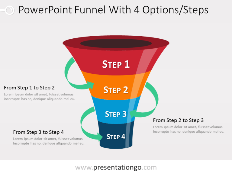 Free 4 level PowerPoint Funnel With Green Arrows