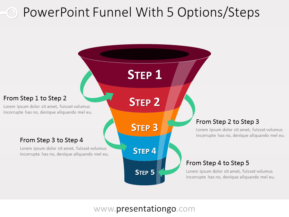 Free 5 level PowerPoint Funnel With Green Arrows