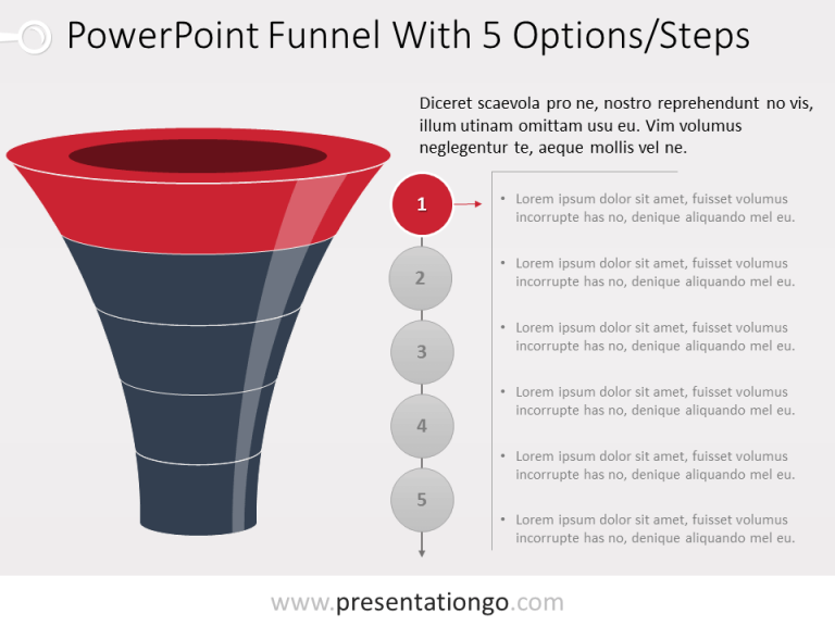 Free Funnel Evolution for PowerPoint with 5 steps - level 1