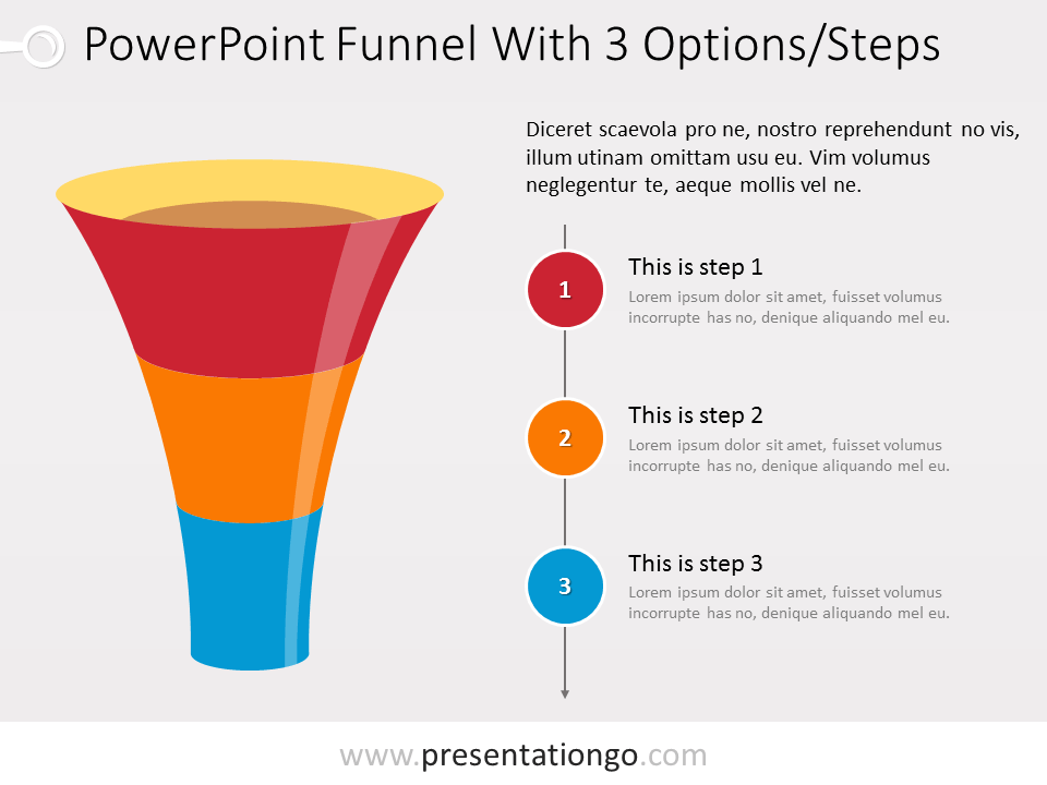 Free Funnel PowerPoint with 3 levels and text