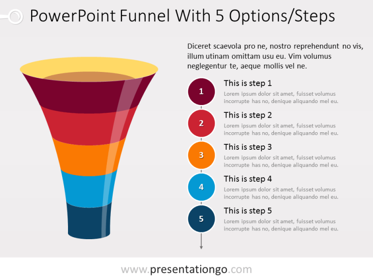 Free Funnel PowerPoint with 5 levels and text