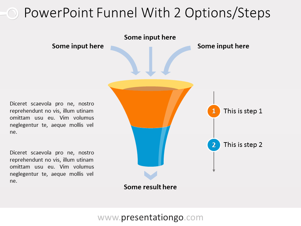 Free PowerPoint Funnel with Input Arrows - 2 steps