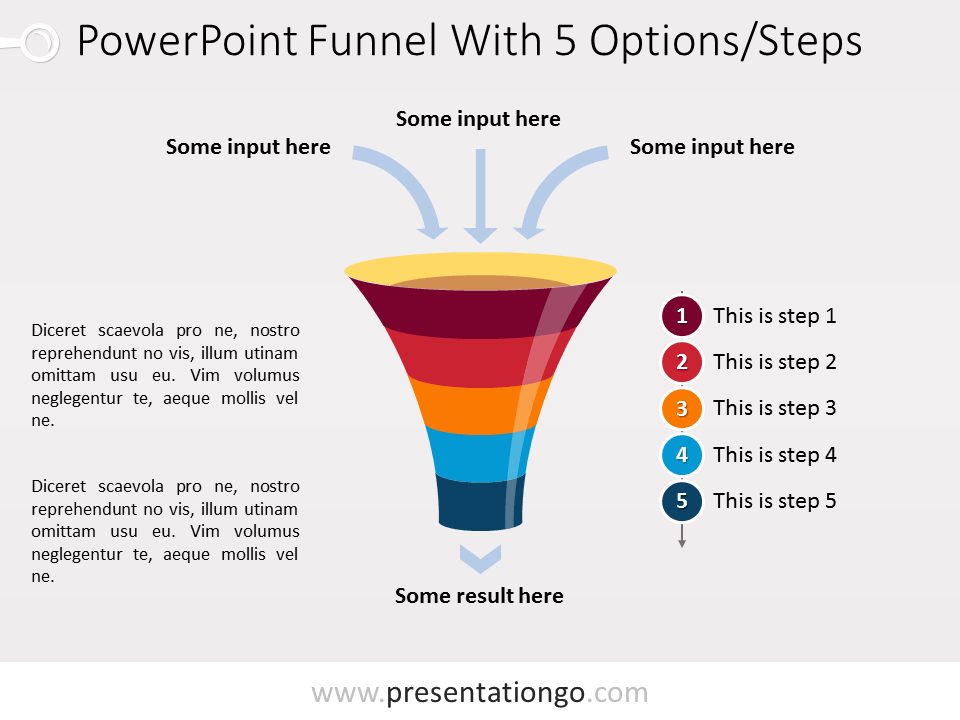 Free PowerPoint Funnel with Input Arrows - 5 steps