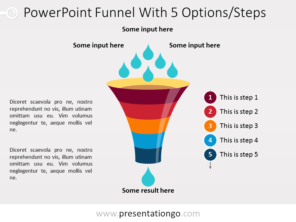 Free PowerPoint Funnel - Input with Drops - 5 steps