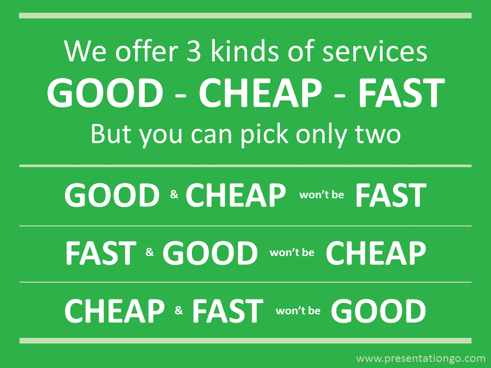 Business Quote PowerPoint - Good, Cheap and Fast - Pick only two