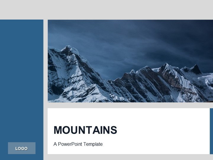 Free Blue PowerPoint Template Mountains