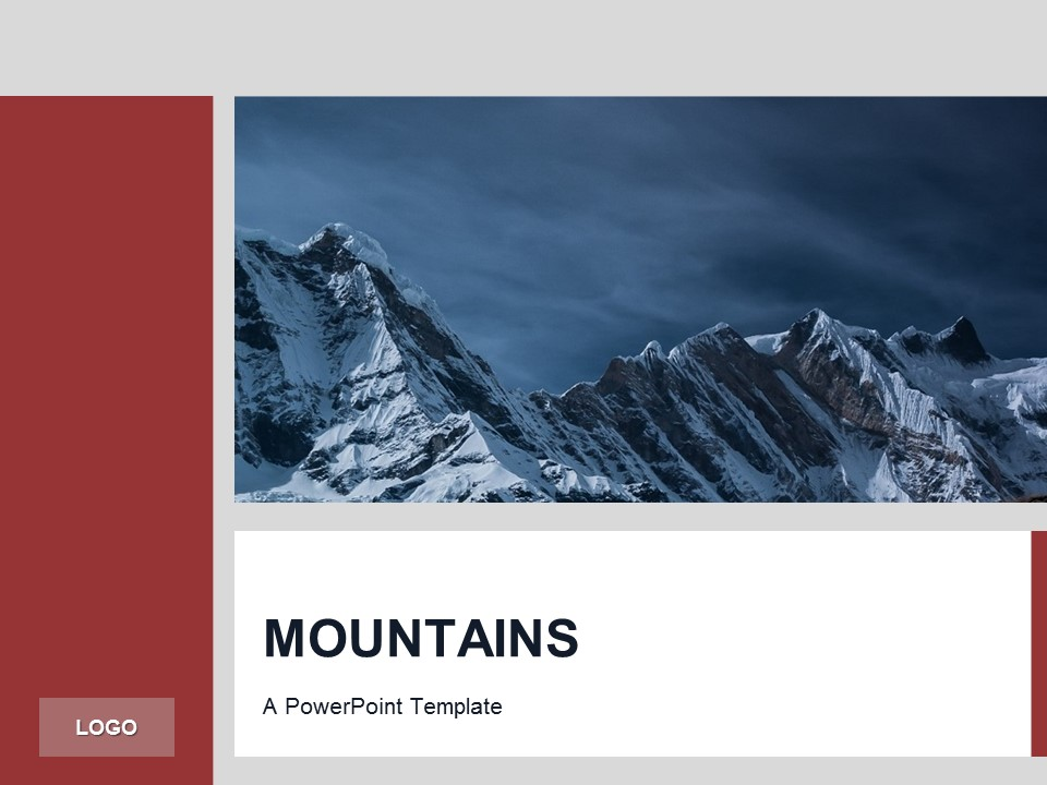 Free Red PowerPoint Template Mountains