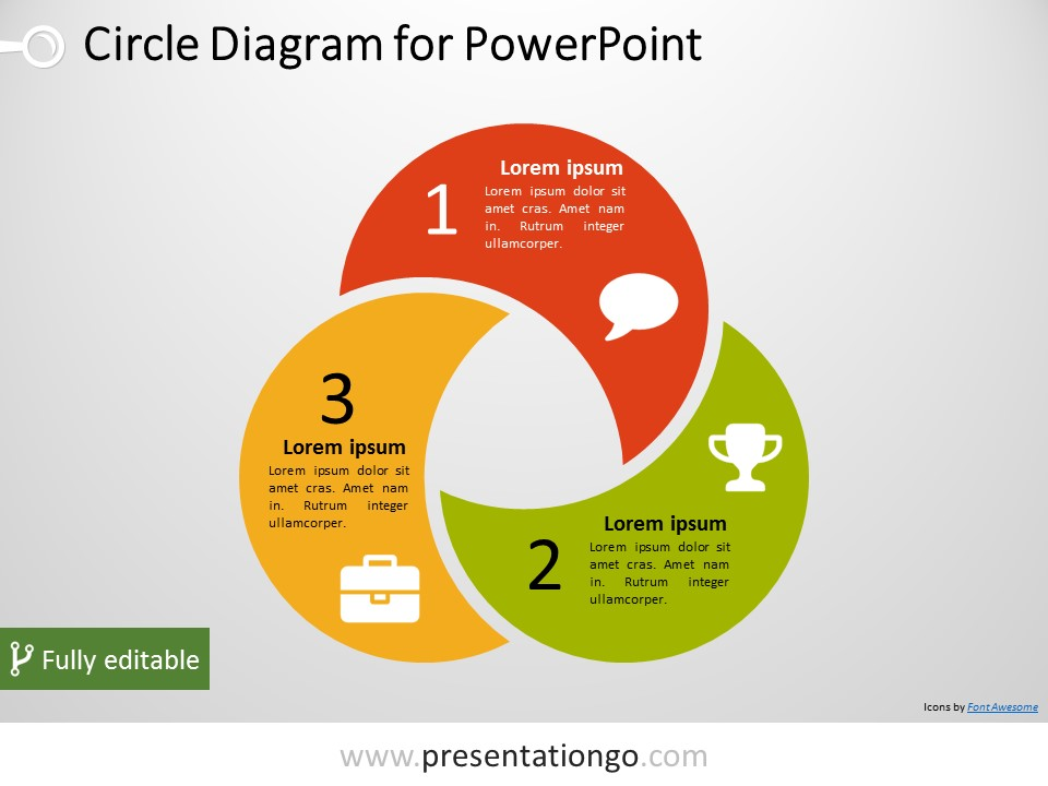 Free 3 Circle PowerPoint Diagram. PPTX diagram with three intertwined and editable circular shapes.