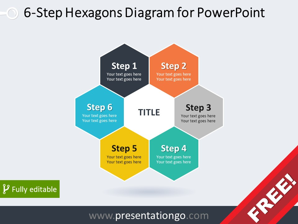 Free diagram for PowerPoint with 6 hexagonal pieces