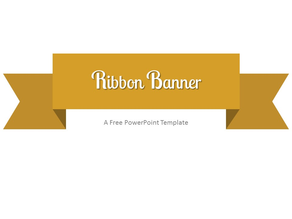 Free Gold Ribbon Banner PowerPoint Template