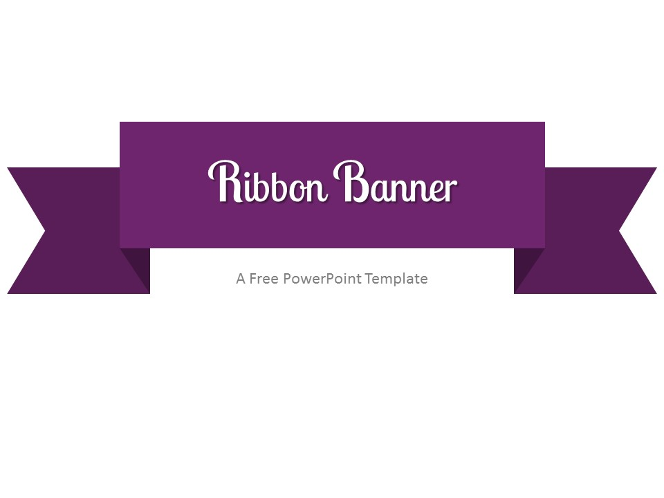 Free Purple Ribbon Banner PowerPoint Template